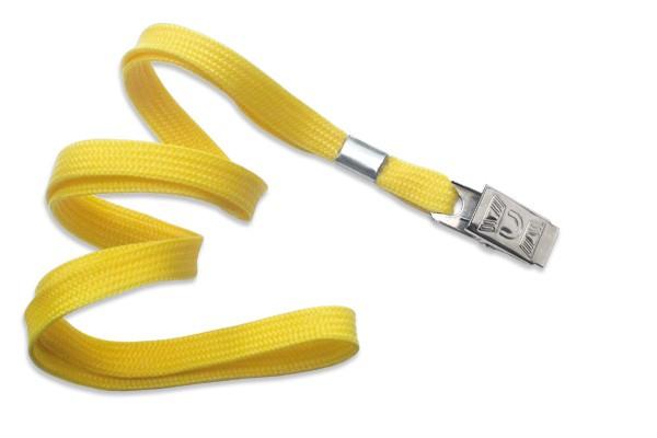 2135-3559 - Yellow Flat Woven Standard Lanyard w/ Bulldog Clip