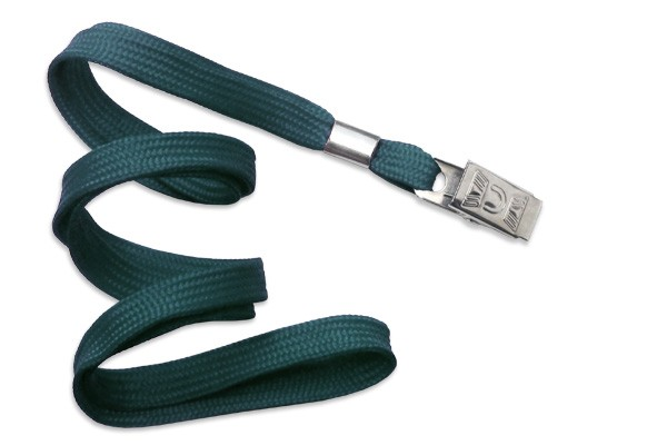 2135-3566 - Teal Flat Woven Standard Lanyard w/ Bulldog Clip