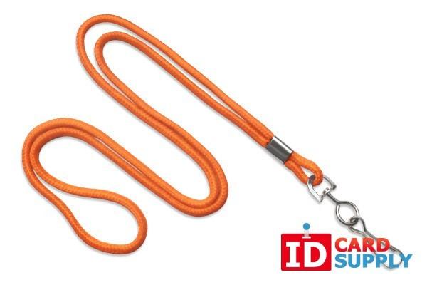 """Round 1/8"""" (3 mm) Standard Lanyard W/Steel Swivel Hook Orange"""