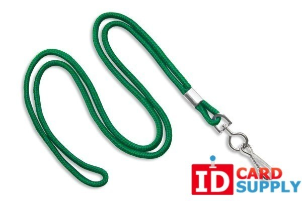 "Round 1/8"" (3 mm) Standard Lanyard W/Steel Swivel Hook Green"